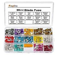 FEPITO Standard Car Fuses Assortment Blade Fuse 2A 3A 5A 7.5A 10A 15A 20A 25A 30A 35A 40A for Auto Car Truck Mini Blade Fuse 180pcs FPDYBB2002SL