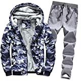 Riou Herren Strickjacke Cardigan Beiläufige DünneStrickpullover mit Kapuze Kapuzenpullover Pullover Männer Hoodie Winter warme Fleece Zipper Sweater Jacke Outwear Mantel (XL, Camouflag Set)
