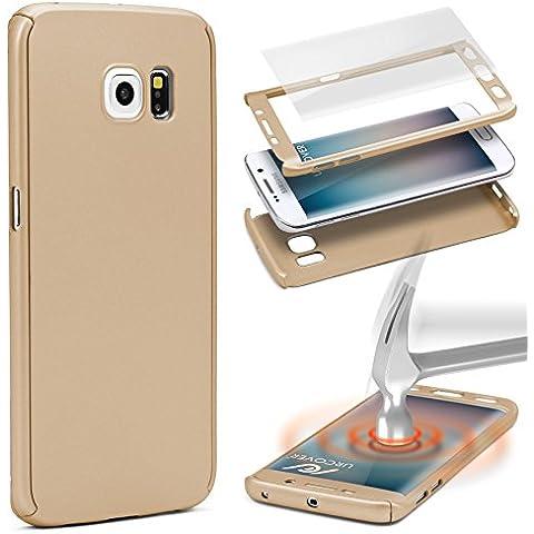 URCOVER® Custodia 360 Grad Hard Case | Custodia Samsung Galaxy S6 Edge | Guscio Rigido in in Oro | Cover Rigida Protettiva Plastica Doppia Ultra-Slim 3d