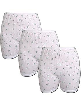 3 Pack signore slip con gamba, bianco con motivo floreale (mutandine, slip) (176) HOA