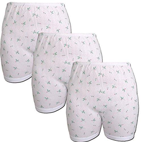 3er Pack Damen Slip mit Bein, weiß mit Blumen Muster (Schlüpfer, Unterhose) (176 HOA)