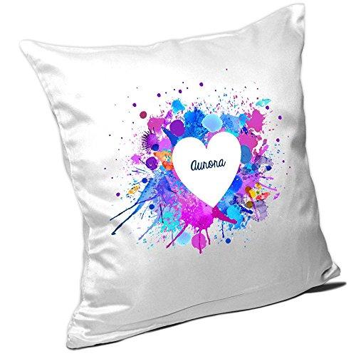 Aurora Kissen (Kissen mit Namen Aurora und schönem Motiv mit Wasserfarben-Herz zum Valentinstag - Namenskissen - Kuschelkissen - Schmusekissen)