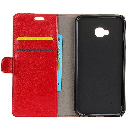 Crytal Grain Texture Solid Color Premium PU Leder Folio Stand Case Geldbörse Tasche Tasche mit Kartensteckplätzen für Asus Zenfone ZD552KL ( Color : Black ) Red