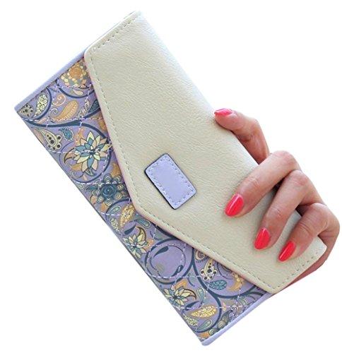 Leder Geldbeutel purple Wallet Lange Handtasche PU D9Q Handy Card Umschlag Frauen Holder Zip q4EpH