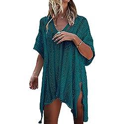 Minetom Mujer Camisolas Pareos Bikini Cover Up Boho Ganchillo Verano Hippie Tunica Vestido De Playa Encaje V-Cuello Traje Ropa De Baño Verde Oscuro Talla única (ES 34-ES 44)