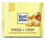 RITTER SPORT Weiss + Crisp (10 x 100 g), Weiße Schokolade mit Crisp, verfeinert mit Cornflakes und Reis-Flakes, Tafelschokolade weiß
