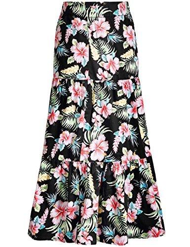 Lange Karriere Rock (SSLR Damen Gestuft Rock Hibiscus Print Hawaii Freizeit Lange Maxi Skirt (Medium, Schwarz))