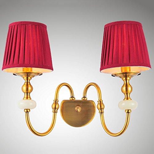 SKC Lighting-Applique murale Applique murale à double tête de style européen lampe murale en cuivre rétro tissu salon chambre restaurant lampe de chevet (Couleur : B)
