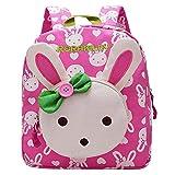 Hase Canvas Kinderrucksack Kindergartenrucksack Kindergartentasche für Mädchen Babyrucksack Pink Rosa