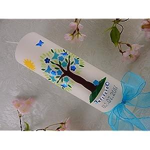 Taufkerze verziert Lebensbaum Blumen Schmetterlinge Sonne Taufkerzen Junge Mädchen 250/70 mm inkl. Beschriftung und Schleife