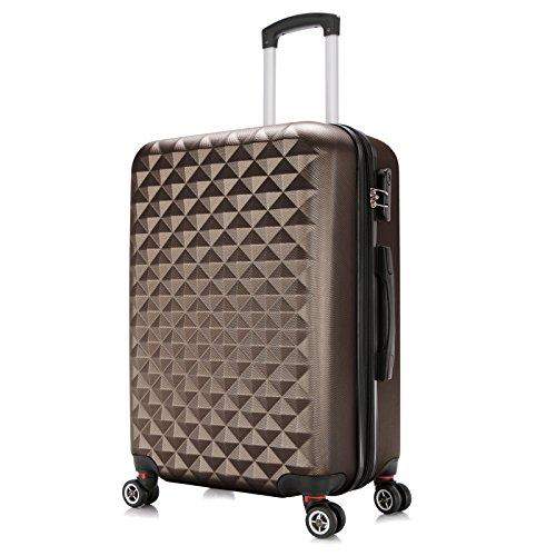 WOLTU RK4216co-XL, Reise Koffer Trolley Hartschale 4 Rollen Volumen erweiterbar, Reisekoffer Hartschalenkoffer Zwillingsrollen Handgepäck groß M L XL Set Coffee (XL 76 cm & 110 Liter)