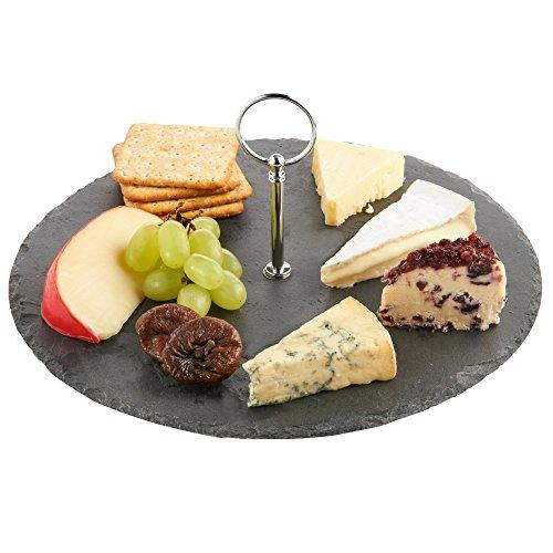 Vonshef tagliere rotondo per formaggi in ardesia con manico