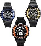 #7: Blue Diamond Combo of 3 Digital Black Dial Kids Watch 7 Light in Display
