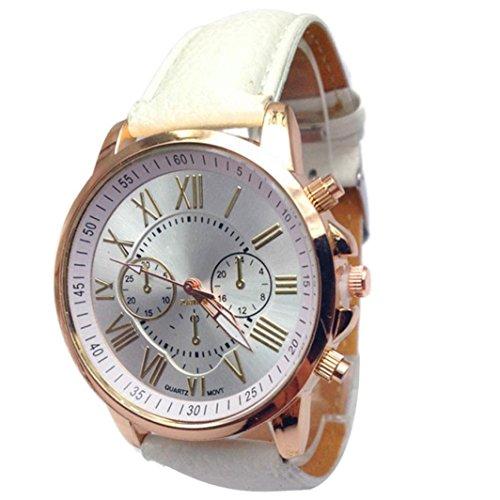 winwintom 2016Mujeres Elegante Reloj Correa de piel sintética color blanco