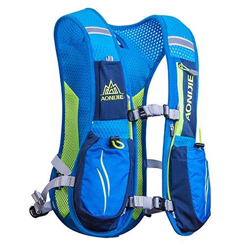 Mochila Hidratación Running Mochila Ligera 6L Impermeable y Transpirable para Viajes, Senderismo, Camping,Correr,Caminar,Escalada,Actividades al Aire Libre, para vejiga de agua de 1.5L/ 2L(Azul)