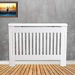 Tanburo Cubierta de Radiador Calefactor, Cubre de Radiador o Emisores Térmicos de Pared, Mate Pintado, Estilo Varilla, Fabricado por E1 MDF, 112cm de Ancho, Color Blanco
