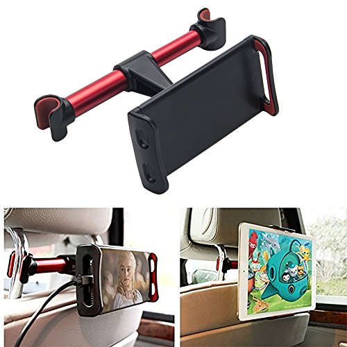 Tablet Kopfstützenhalter, Cuitan 360 Grad Drehbare Verstellbare Autositz Kopfstützenhalterung Auto Kopfstütze Handy iPad Tablet Halterung Ständer für 4-11 Zoll iPhone iPad Samsung - Rot (Auto-dvd-mount)