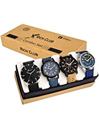 Rich Club Combo Of 4 Analogue Multicolor Dial Men's And Boy's Watch-605Blk+118Blu+Av51+70Blu