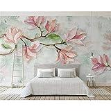GMYANBZ Tapete-Magnolien-Aquarell-Blumen-Hotel-Fernsehinnenwand-Hintergrund-Tapeten-Wandbild der Qualitäts Silk Silk 3D 3D Wandgemälde