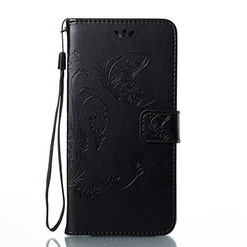 EKINHUI Case Cover Horizontale Folio Flip Stand Muster PU Leder Geldbörse Tasche Tasche mit geprägten Blumen & Lanyard & Card Slots für Huawei P10 Plus ( Color : Blue ) Black