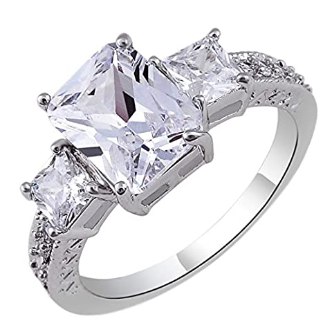 Women White Platinum Plated Copper Ring Square Rhinestone Carving Jewelry