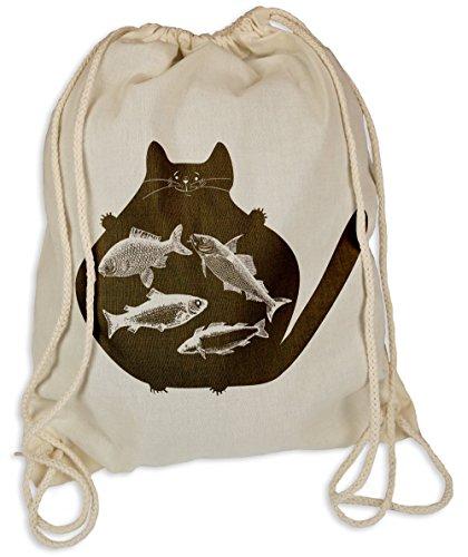 Catfish - Gymsac Turnbeutel - Stoffbeutel Tasche Hipster Sportbeutel Rucksack Katze Katzen Fischer Angler (Bag Big Cat Sports)
