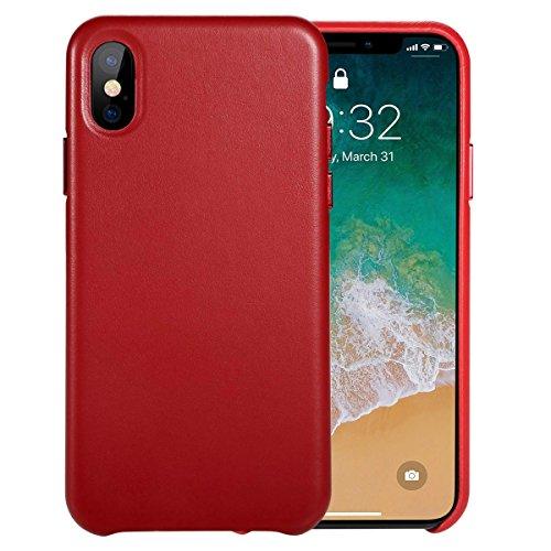 Benks iPhone X Leather Case, iPhone 10 Ledertasche Hülle Luxus Echtleder Backcover Handytasche Leder Hülle Case für Apple iPhone X/iPhone 10 5,8 Zoll (Rot)