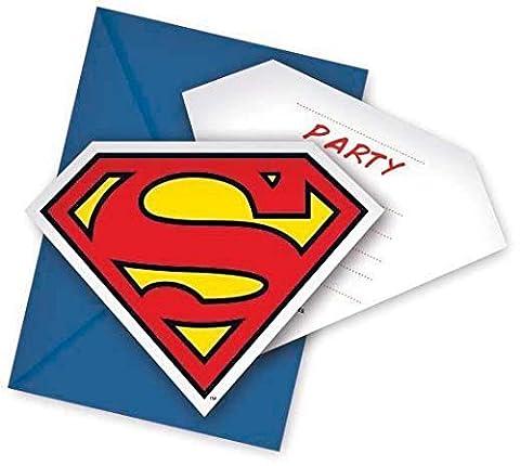 Unique Party Lot de 6cartes d'invitation Motif Superman