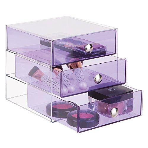 mDesign – Cajonera con tres gavetas – Organizador de escritorio con tres cajones en color morado – Práctico organizador de maquillaje con gavetas de plastico resistente