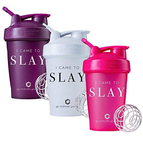 GOMOYO I Came to Slay on BlenderBottle Klassischer Shakerbecher, 567 ml oder 714 ml, inkl. BlenderBall Schneebesen, Plum/White/Pink - 3pk - 20oz