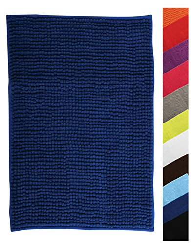 MSV Badteppich Badvorleger Duschvorleger Chenille Hochflor Badematte 40x60 cm - Blau