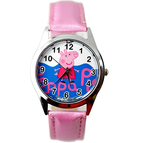 Taport Peppa Pig Quartz Watch Pink Leather Band Free Spare Battery