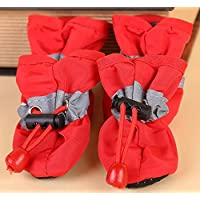 Doggie Style Store Red Waterproof Dog Puppy Pet Rain Snow Boots (Pack of 4) Reflective Non Slip Booties Socks Shoes