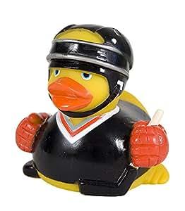 Badeente Hockey Eishockey Ente mit Schutzausrüstung und Eishockeyschläger