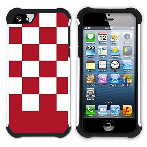 Graphic4You Kariert Muster Design Hart + Weiche Kratzfeste Hülle Case Schale Tasche Schutzhülle für Apple iPhone SE / 5 / 5S (Lila) Rot