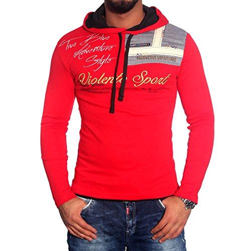 Herren Kapuzen Pullover Hoodie Kontrast Longsleeve T-Shirt Poloshirt BB-708 NEU Rot