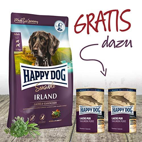 Happy Dog Irland ❤️ Premium Hundefutter 12,5 kg + Gratis 2 x 375 g Dosen Lachs pur. EIN tolles Gefühl seinem Hund was Gutes zu tun.