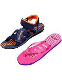 Indistar KRS Men Sandal And Step Care Flip Flop And House Slipper For Women -Set Of 2 Pairs - B072P5YZWM