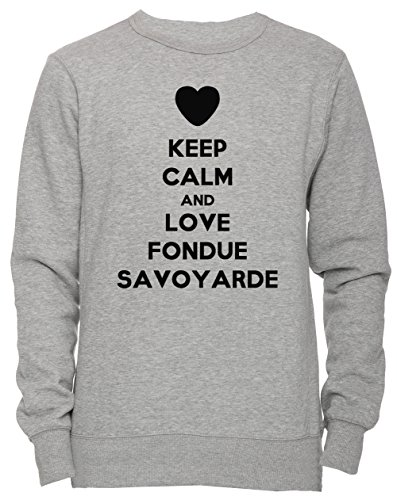 Keep Calm And Love Fondue Savoyarde Unisex Herren Damen Jumper Sweatshirt Pullover Grau Größe M...