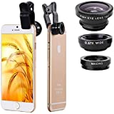 Tulip 3 In 1 Cell Phone Camera Lens Kit -Fish Eye Lens, 2 In 1 Macro Lens & Wide Angle Lens For Android/iOS Devices (Color May Vary)