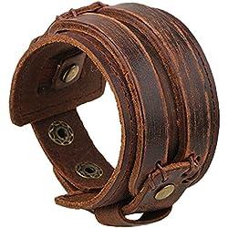 VANKER Vendimia del botón ancho Cinturón de cuero pulsera fresco de la manera hecha a mano punky de los hombres de la joyería -- marrón