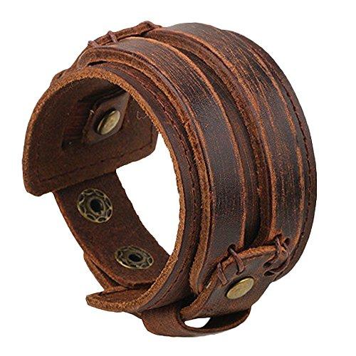 VANKER Vendimia del botón ancho Cinturón de cuero pulsera fresco de la manera hecha a mano punky de los hombres de la joyería --