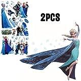 Kibi XXL Frozen Disney Stickers Muraux Reine des Neiges Salon Amovible Stickers Mural Elsa, Chambre Bebe Autocollants Frozen, Stickers Muraux Chambre Enfant Fille Princesse