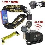 FD-MOTO 1.2M*10mm Bloque de Cadena + LK604 Candado de Disco con Alarma 110DB Dispositivos Antirrobo para Motos Bicicletas