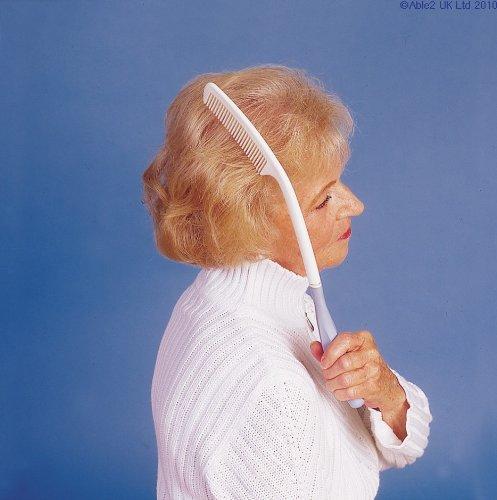 Long manche peigne à cheveux avec Anti-patinage poignée - Portée maximum, un minimum d'efforts