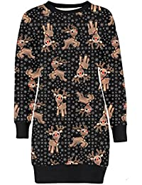 Frauen Christmas Reindeer Printed lange Sleeve weihnachten Sweatshirt Pullover Kleid 36-50