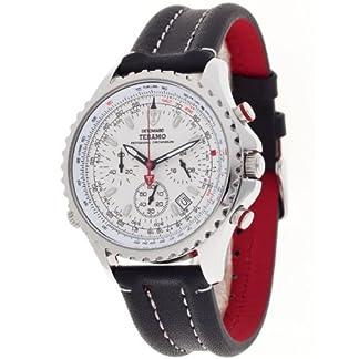 Detomaso Teramo Silver DT1029-B DT1029-B – Reloj cronógrafo de Cuarzo para Hombre, Correa de Cuero Color Negro (cronómetro)