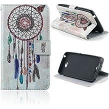 Dokpav® Sony Xperia E4 Funda,Ultra Slim Delgado Flip PU Cuero Cover Case para Sony Xperia E4 con Interiores Slip compartimentos para tarjetas-Campanula