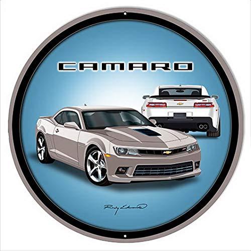 TableRTRADE Camaro Hot Rod Silber-Metallschild, Vintage-Look, Auto-Motor, rund, 30,5 x 30,5 cm -