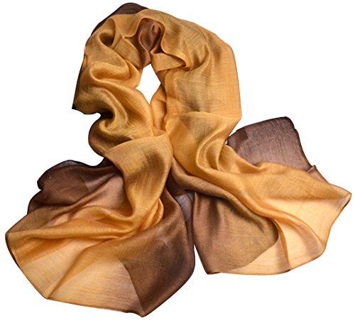 Mode New Ombre Steigung Ramp Süßigkeiten Farbe Hanf Baumwolle Maulbeere Seide Schals Schal Cappa Schal für Frauen Damen Mädchen (6) (Square Schal Sheer)